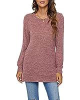 AUSELILY Long Sweatshirts for Women Side Split Womens Tunic Sweatshirts Brick XL
