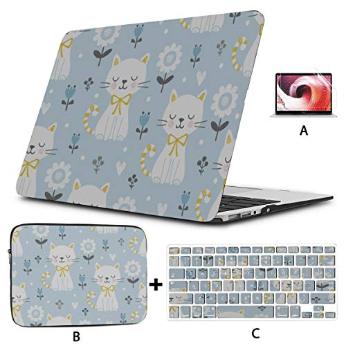 MacBook Covers Tulip Cute Cat Animal Case MacBook Pro 15 Hard Shell Mac Air 11'/13' Pro 13'/15'/16' with Notebook Sleeve Bag for MacBook 2008-2020 Version