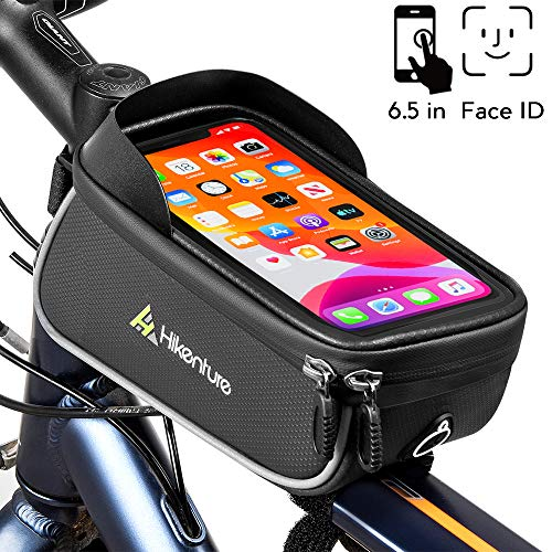 """Hikenture Bike Frame Bag Phone Holder - Waterproof Bicycle Phone Mount Top Tube Front Storage Case - 6.5"""" Touch Screen Large Cycling Handlebar Pack for iPhone 11 Pro Plus XS Max Samsung Galaxy S20"""