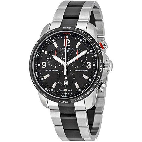 Certina DS Podium Big Size Chronograph Black Dial Two-Tone Mens Quartz Watch C0016472205700