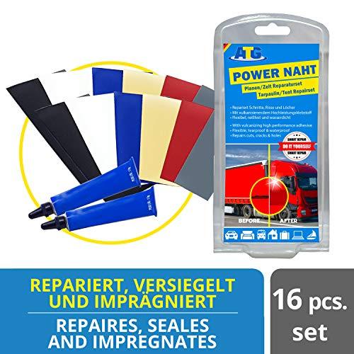 ATG Reparatieset voor folie, dekzeilen, vrachtwagenzeilen, zwembad/kinderbaden, luchtmatras, extra sterke PU-kunststof lijm