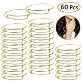 UPINS 60Pcs Gold Expandable Bangle Bracelets Adjustable Wire Blank Women Bracelets for DIY Jewelry Making