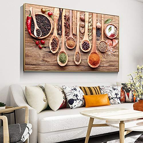 Bunte Gewürze und Löffel in Tabelle Leinwand Gemälde Küche unter dem Motto Wandkunst Dekor Lebensmittelkonzept Retro Leinwand Kunstdrucke 30x60cm