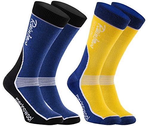 Rainbow Socks Pro - Hombre Mujer Lana Merina Antibacterianos Calcetines de Esquí - 2 Paar - Azul-Amarillo, Azul-Negro - Talla UE 43-46