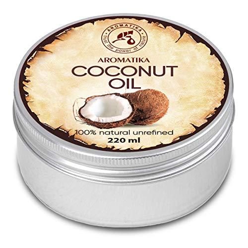 Koudgeperste kokosolie 220g, 100% puur natuurlijke lichaamsboter - rijk aan mineralen & vitamines voor intensieve huidverzorging - massage - wellness - cosmetica - ontspanning - anti-rimpels - anti-aging - hydrateert - vochtinbrengend