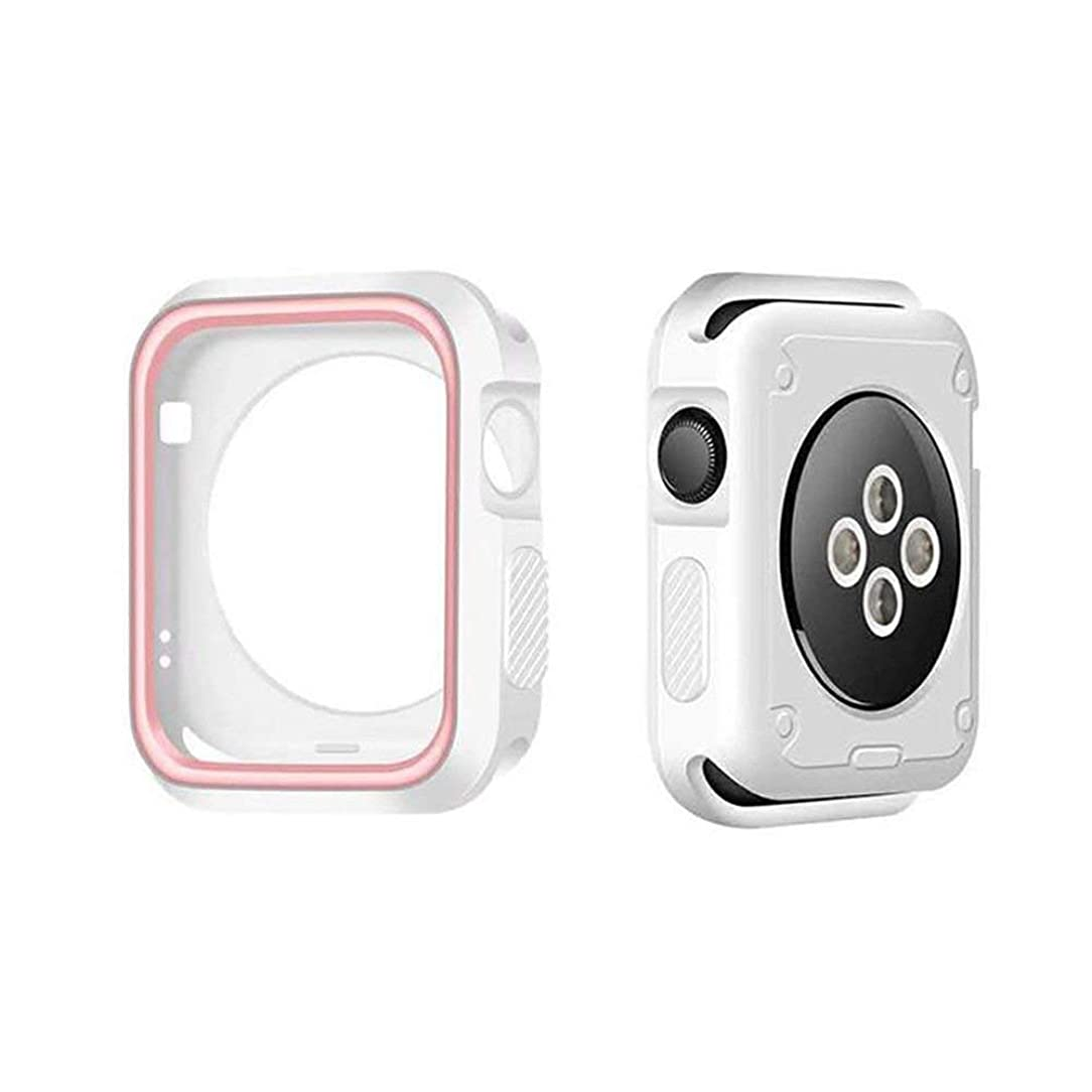 Shockproof Heavy Duty Armor Protection Case Full Edge & Corner Bumper by Tech Express for Apple Watch Series 1, 2, 3 or 4 Cellular LTE/GPS [iWatch Cover] Protective Accessories (Pink, 44mm)