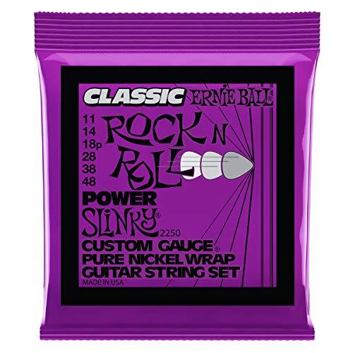 Ernie Ball Power Slinky Classic Rock n Roll Cuerdas para guitarra eléctrica de puro níquel - Indicador 11-48