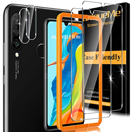 [2+2 Pezzi] UniqueMe Pellicola Protettiva Compatibile con Huawei P30 Lite, [2 Pezzi] Vetro Temperato Pellicola e [3 Pezzi] Pellicola Fotocamera ,[Bubble-Free] Anti-Scratch