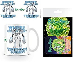 Set: Rick and Morty, Lawnmower Dog, Snuffles Photo Coffee Mug (4x3 inches) and 1 Rick and Morty, Credit Card Holder Wallet for Fans Collectible (4x3 inches)