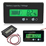 Battery Capacity Voltage Meter, 6-70V 6-70 (V), with Connecting Cable, LCD Display Backlit Universal Battery Capacity Meter Voltmeter Monitor, Waterproof LED, Built with Bbuckle