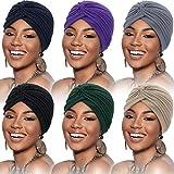 6 Piezas Gorro Turbante para Mujeres Gorro Suaves Turbante Gorro Plisado Gorro de Pérdida de Cabello (Negro, Azul Oscuro, Beige, Gris, Morado, Azul Marino)