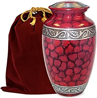 Celebration of Life Classic Red Adult Urn for Human Ashes - A Beautiful Urn to Honor Your Loved One Lost - w Velvet Bag