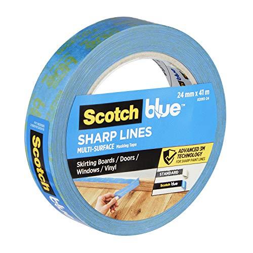ScotchBlue Advanced 2093 UK Sharp Lines Enhanced Masking Tape for Skirting Boards Doors Windows or Vinyl, Blue, 24 mm