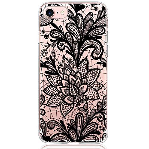 13peas Compatible pour Coque iPhone 8 Plus, Fleur Mandala Motif Dentelle Dentelle Modèle Case Silicone Transparente Bumper Housse de Protection iPhone 8