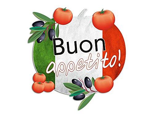 GrazDesign Muurtattoo Keuken spreuk Buon appetito, Italiaans goede appetit, muurstickers voor keukenwand, keukenstickers tegels 31x30cm