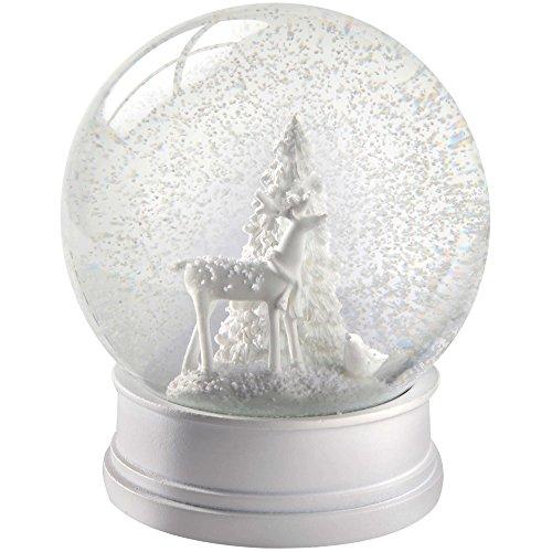 WeRChristmas Reindeer Snow Globe Christmas Decoration - 13 cm, White