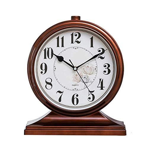Brown Kamin Schreibtischuhr, Brown 9-Zoll Retro Kelleruhr, große stumme Uhr, Desktop-Dekoration Uhr, Wohnzimmer, Kamin Uhr Büro