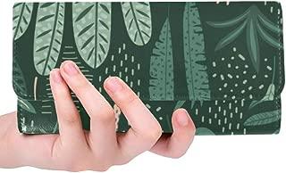 Unique Custom Leaf Green Leaf Color Plant Spring Vitality Natural Embroidery Women Trifold Wallet Long Purse Credit Card Holder Case Handbag