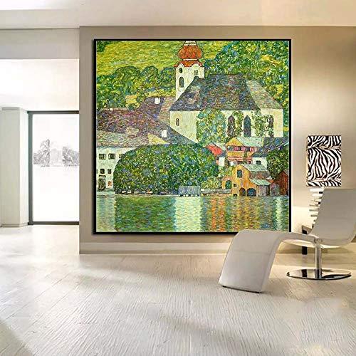 N / A Österreich Gustav Klimt Kuss Abstrakte Kunst Ölgemälde auf Leinwand Hauptdekoration Wandkunst Bilder für Wohnzimmer Schlafzimmer60x60cm