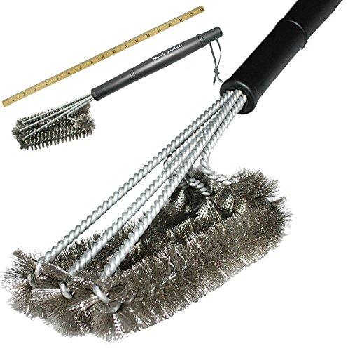 VOANZO BBQ Grill Brush Cepillo de Limpieza de Horno de Metal de triángulo de 18 Pulgadas, Limpiador de cerdas de Barbacoa de Acero Inoxidable para una Limpieza más fácil y eficaz