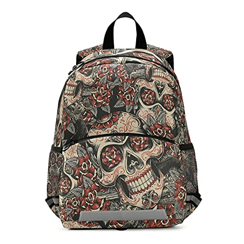 Isaoa Rucksack für Kleinkinder, mit Zügeln, für Jungen und Mädchen, Totenkopf- und Rosen-Zucker, Kinderrucksack, Tagespflegetasche, Vorschule, Kindergarten, Reisetasche mit Brustclip