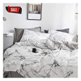 YZZ COLLECTION Queen Bedding Duvet Cover Set, Premium Microfiber,Marble Pattern On Comforter Cover-3pcs:1x Duvet Cover 2X Pillowcases,Comforter Cover with Zipper Closure