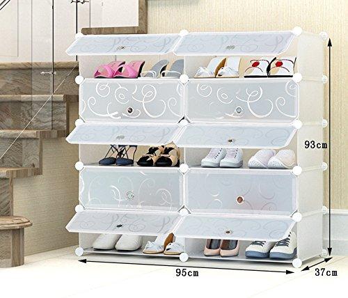 Chaussure Fashion Creative Résine Plastique Rack De Stockage, Combinaison De Grande Capacité Multifonctions Boîte De Stockage, Multi-Store Shelf Dust-Proof Shoe Cabinet (Taille : 95 * 37 * 93cm)