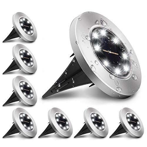 KINGSO 8 Pack Lampe Solaire Extérieur, Lumière Solaire pour Jardin au Sol, Étanche IP65 Éclairage 8 LEDs Blanc Froid 6000K Lampe Solaire Spot Encastrable pour Chemin Terrasse Cour Allée