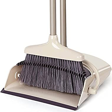 Lobby Broom With Dustpan /Dust Pan Broom /Upright Sweep Set With Stain Steel 36  Height Handle for Home Office Commercial Hardwood Floor Use Brooms