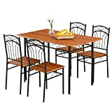 Mecor 5 Piece Dining Table Set, Vintage Wood Tabletop Kitchen Table w/ 4 Chairs with Metal Frame (Reddish Brown)