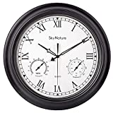 Large Outdoor Clock, 18 Inch Waterproof Clock with Temperature and Humidity Combo, Silent Battery Operated Roman Numerals Clock for Living Room, Patio, Garden, Pool Decor - Metal, Matte Black