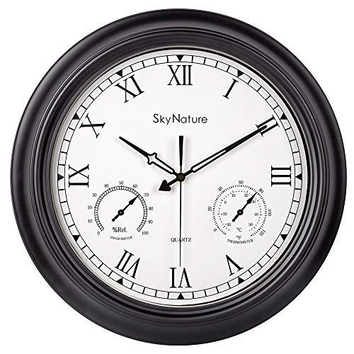 Große Outdoor-Uhr, 45,7 cm wasserdichte Uhr mit Temperatur und Luftfeuchtigkeit, leise batteriebetriebene römische Ziffern, Uhr für Wohnzimmer, Terrasse, Garten, Pool Dekor, Metall, matt schwarz