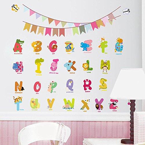 Kinder geschenk tier alphabet charakter wandaufkleber flagge kindergartenkinder geburtstag dekoration wandtattoo brief wandaufkleber