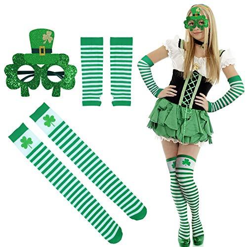 CHIFOOM 3tlg St. Patrick's Day Kostüm Set Irische Kniestrümpfe Kleeblatt Sonnenbrille Grün Weiß Handschuhe Overknee Socken Kostüm Zubehör Für Karneval Kostümparty