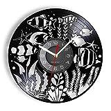 LTMJWTX Reloj de Vinilo con grabación de Vinilo de Benthos Marino, Acuario Mundial Submarino, arrecifes de Coral y Peces, océano, decoración del hogar, Reloj de Pared Exclusivo Tropical