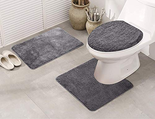 Elegant Home 3 Piece Bathroom Rug Set Bath Rug, Contour Mat, & Lid Cover Non-Slip with Rubber Backing Solid Color # Angela (Charcoal)