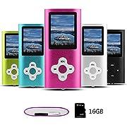 Btopllc MP3-Player Musik-Player 16GB Interne Speicherkarte, Tragbare und kompakte MP3/MP4-Musik-Player,Bild Musik-Player - Rosa