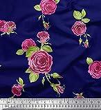 Soimoi Blau Baumwolle Batist Stoff Blätter & Austin Rose