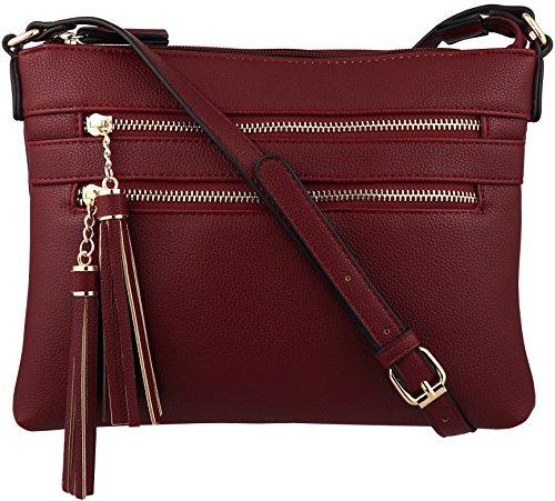 B BRENTANO Vegan Multi-Zipper Crossbody Handbag Purse with Tassel Accents (Merlot)