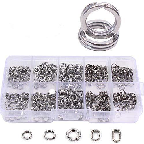Croch 400 Stück Sprengringe mit Sortimentsbox in 5 Verschiedene Größe für Süßwasser & Salzwasser geeignet