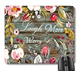 7AN.M Laugh More Worry Less Positive Inspirational Quote Mouse Pad, Motivational Quotes on Rustic Wood Vintage Floral Wreath Art Flowers Leaves Print Cute Mouse Pads
