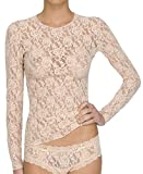 Hanky Panky Women's Signature Lace Unlined Long Sleeve Top (Large, Chai)