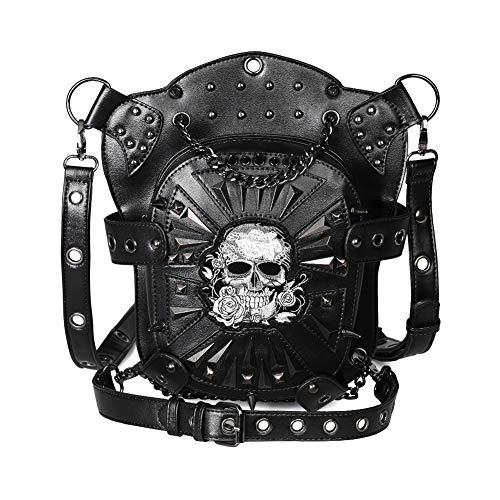 Cyber Deal Monday Deals Steampunk Leather Crossbody Shoulder Tote Handbag Messenger Gothic Waist Bag Fanny Pack Motorcycle Drop Leg Bag Hip Holster Belt Purse Pouch Chain Travel Wallet for Women Men