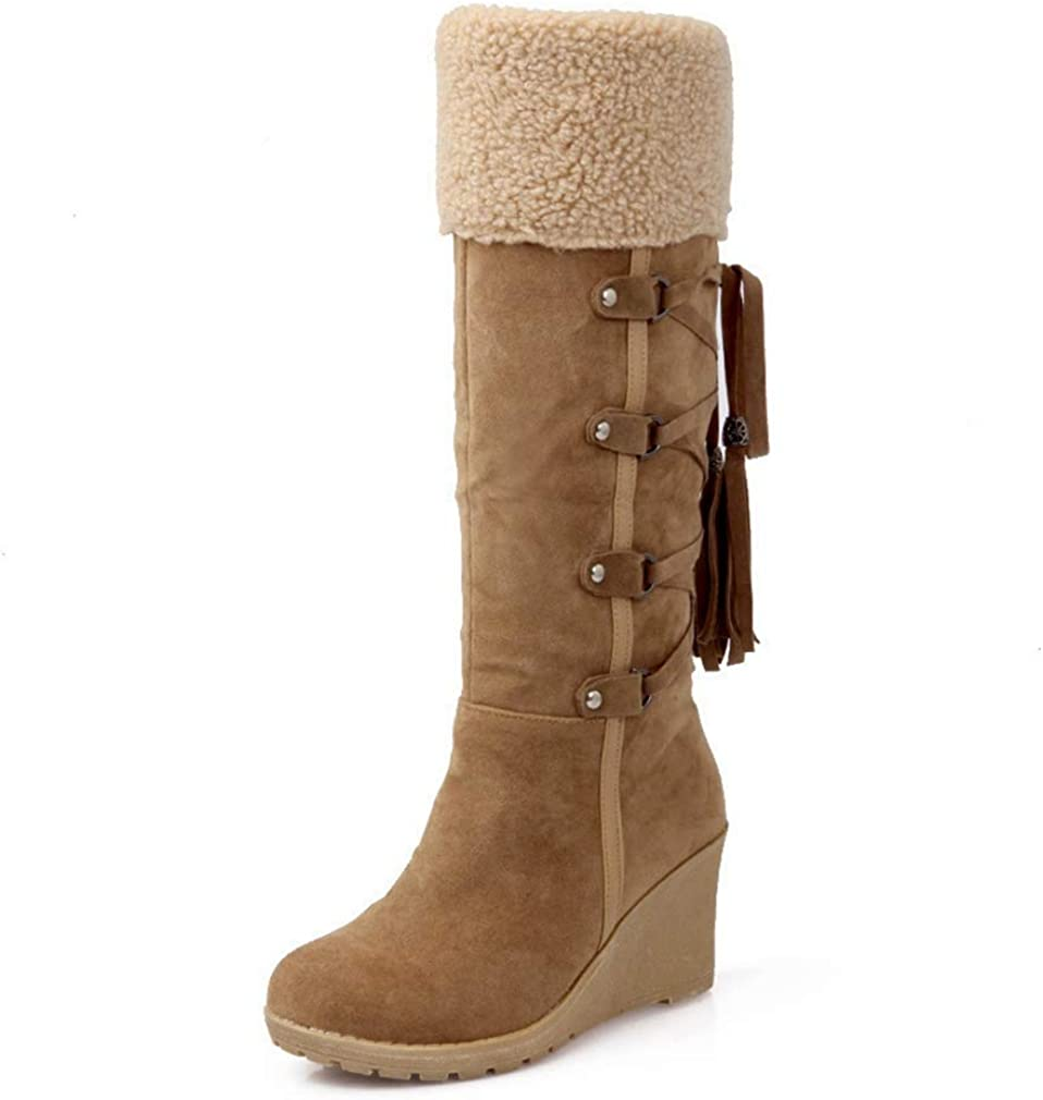 CYBLING Winter Warm Snow Boots for Women Back Lace Up Suede Fur Lined Tassel Mid Calf Wedge Boots