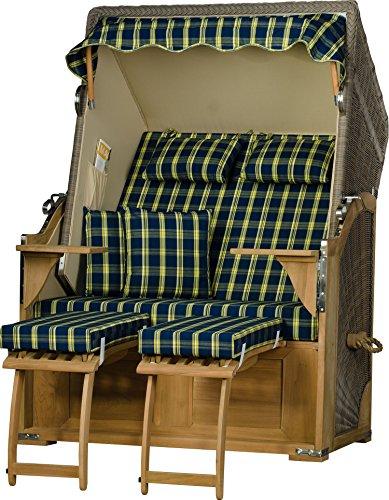 Möbelpromenade Strandkorb Keitum Teak PE Grau Dessin Schottland Blau Strandkörbe fertig aufgebaut