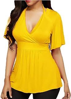 WSPLYSPJY Women's A-Line Solid V-Neck Halter Tops Short Sleeve Blouses