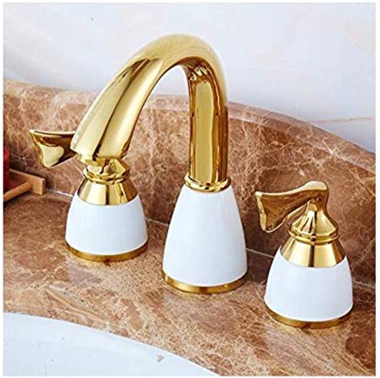 Moderne überzogene Küche Badezimmerhahn Kupfer Wasserhahn Antike Heie Und Kalte Wasserhahn Gold Retro Drei-Loch Becken Wasserhahn Badewanne Wasserhahn
