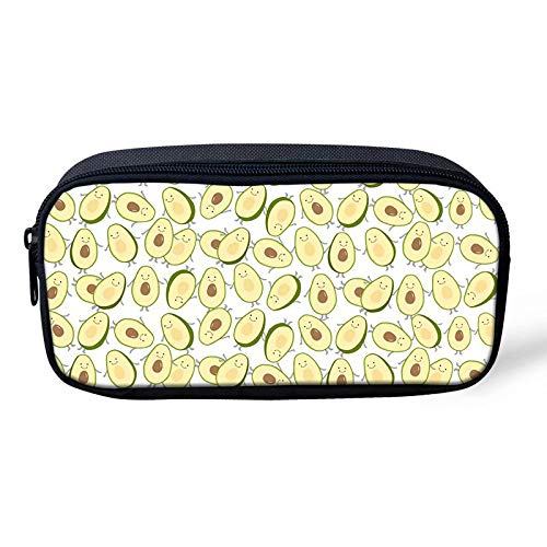 Portable Student Kids Pencil Case Avocado Print Pen Bag for Boys Durable Stationery Pouch