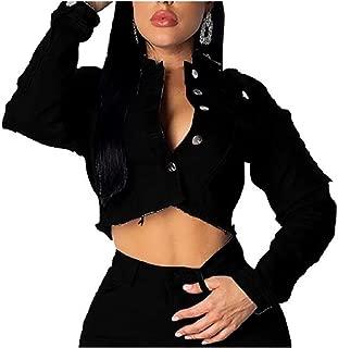 Mogogo Womens BF Short Style Buttoned Backless Denim Jacket Coat