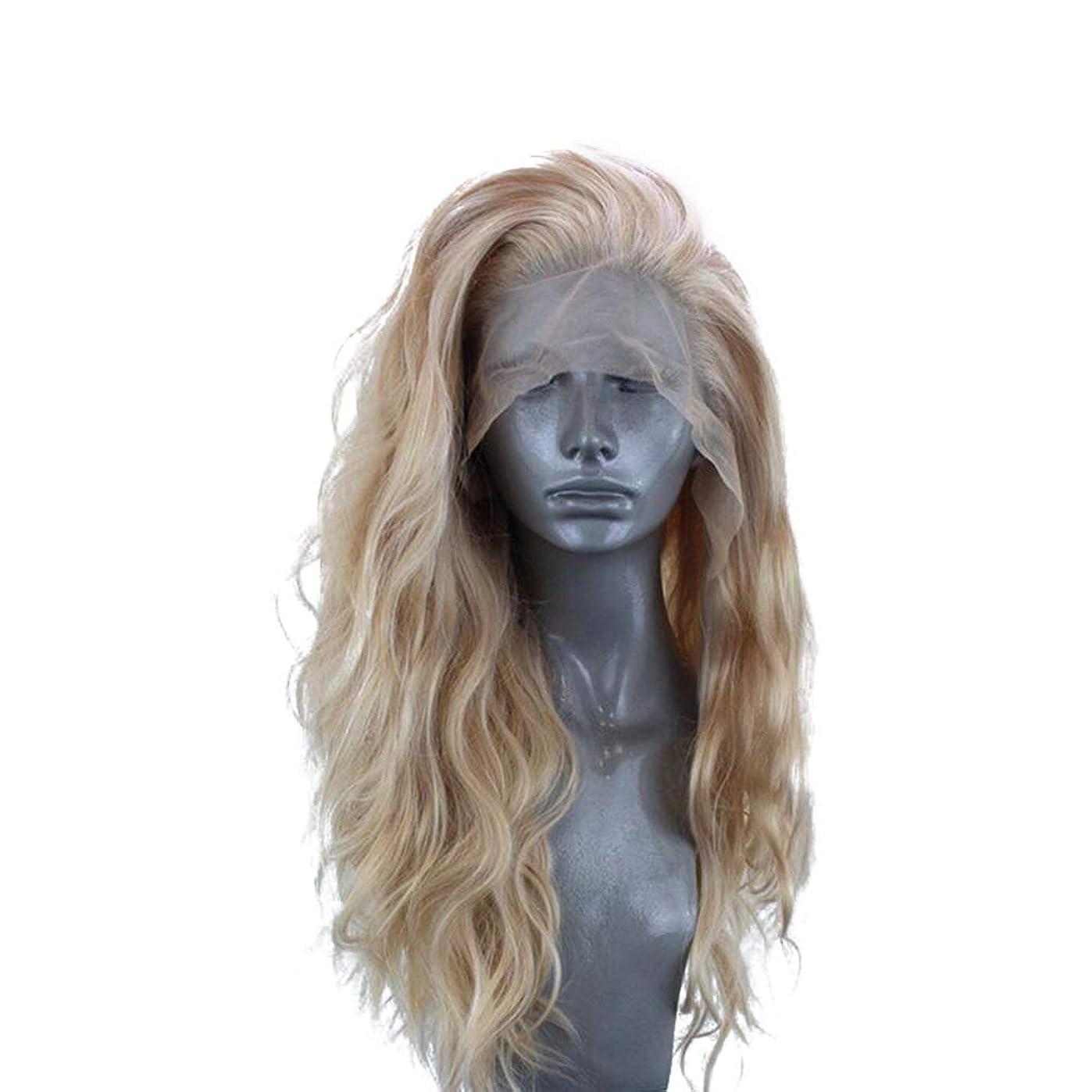 ZXF 26インチ半手織りかつら女性ヨーロッパとアメリカの化学繊維フロントレースフードセットリネン長い巻き毛を染めることはできません 美しい